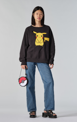 Levi's Pikachu sweater and Pokeball bag